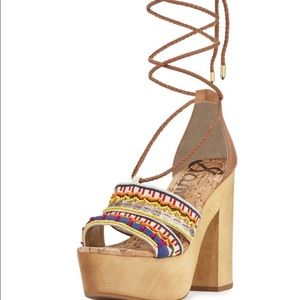 Sam Edelman Platform beaded embroidered Block heel